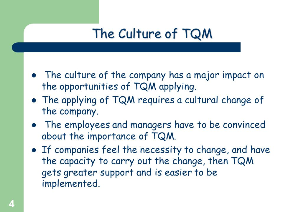 The Culture of TQM The culture of the company has a major impact on the opportunities of TQM applying.