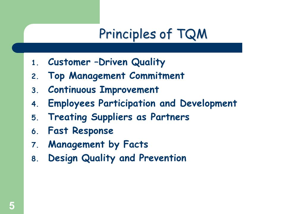 Principles of TQM Customer –Driven Quality Top Management Commitment
