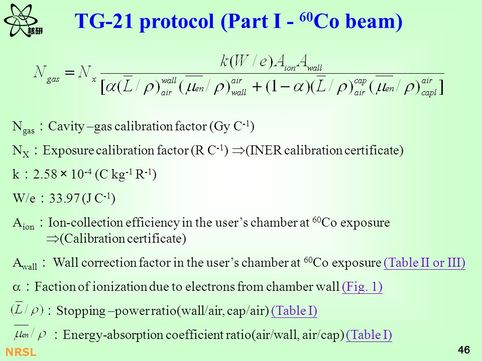 TG-21 protocol (Part I - 60Co beam)