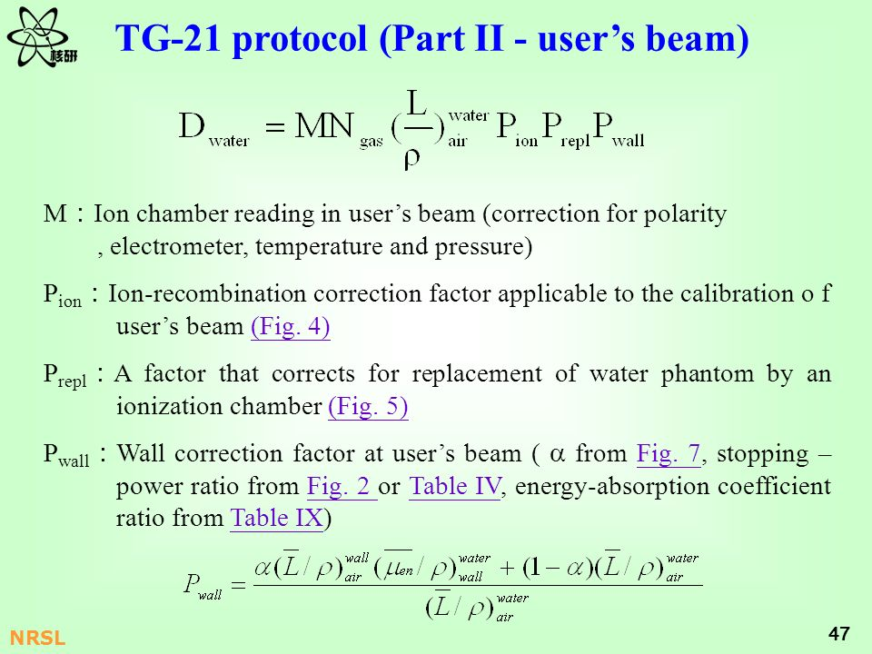 TG-21 protocol (Part II - user's beam)
