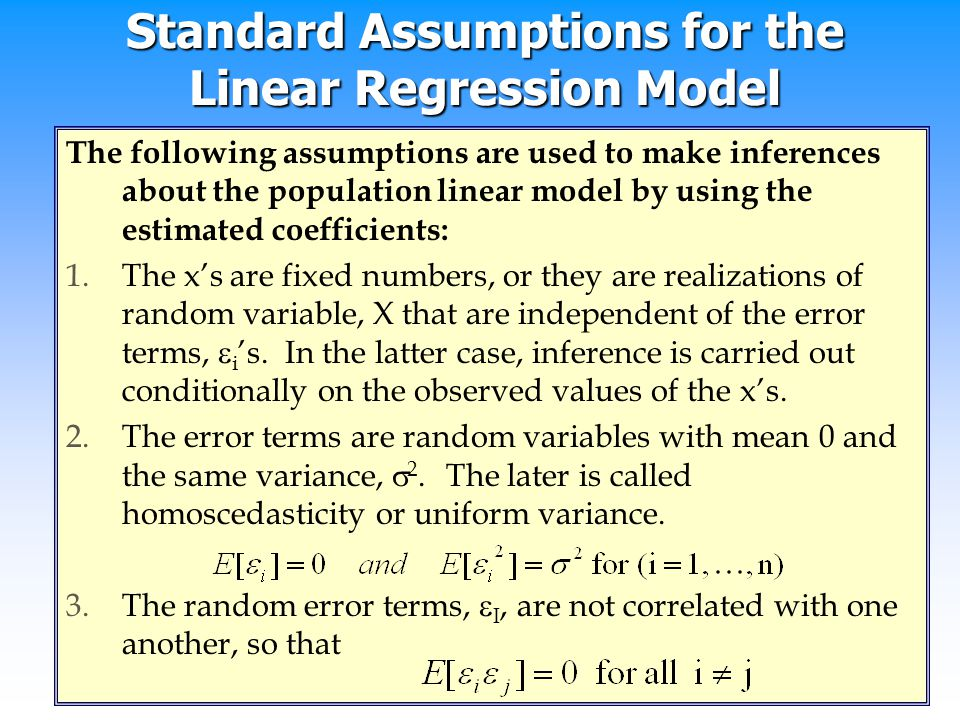 Standard Assumptions for the Linear Regression Model