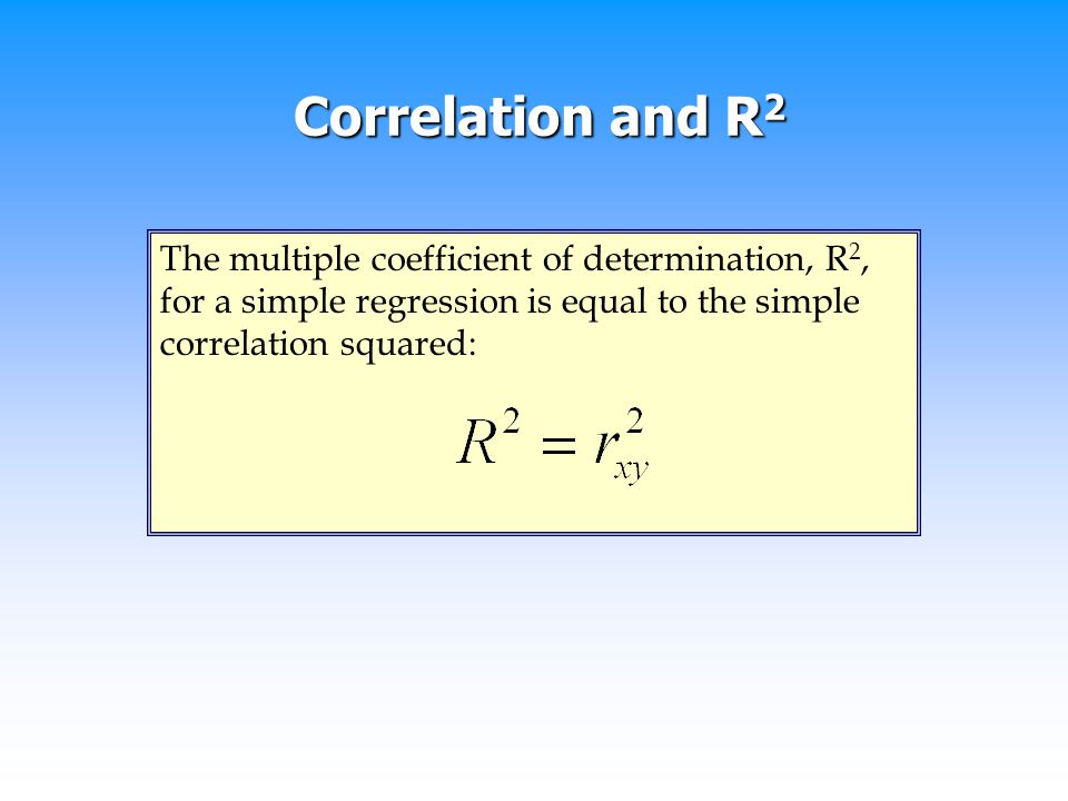 Correlation and R2 The multiple coefficient of determination, R2, for a simple regression is equal to the simple correlation squared:
