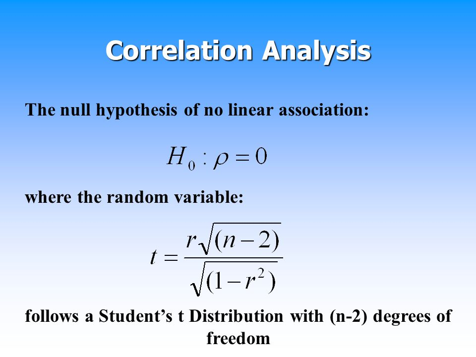 follows a Student's t Distribution with (n-2) degrees of freedom