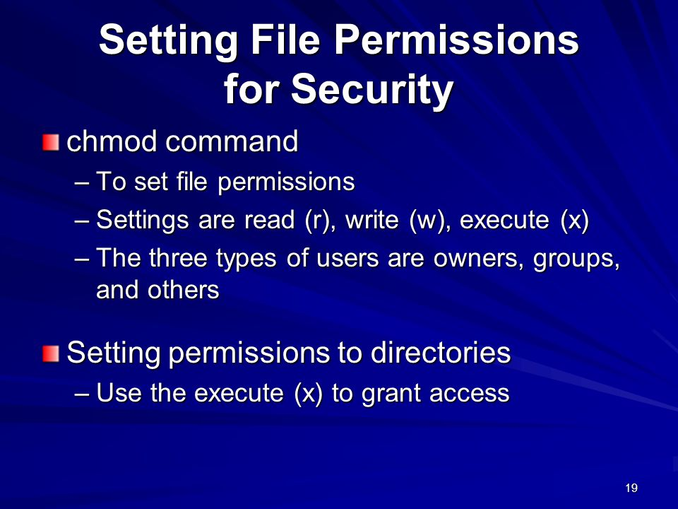 Setting File Permissions for Security