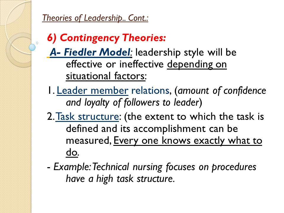 contingency theory of leadership examples