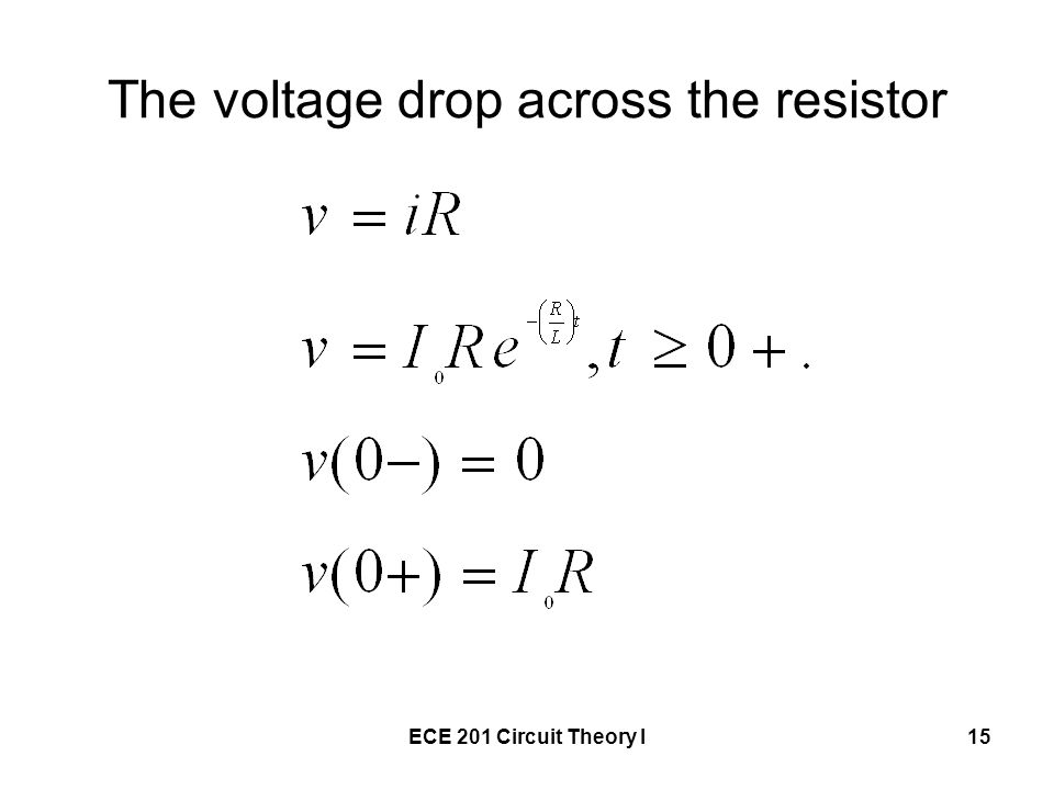 The voltage drop across the resistor