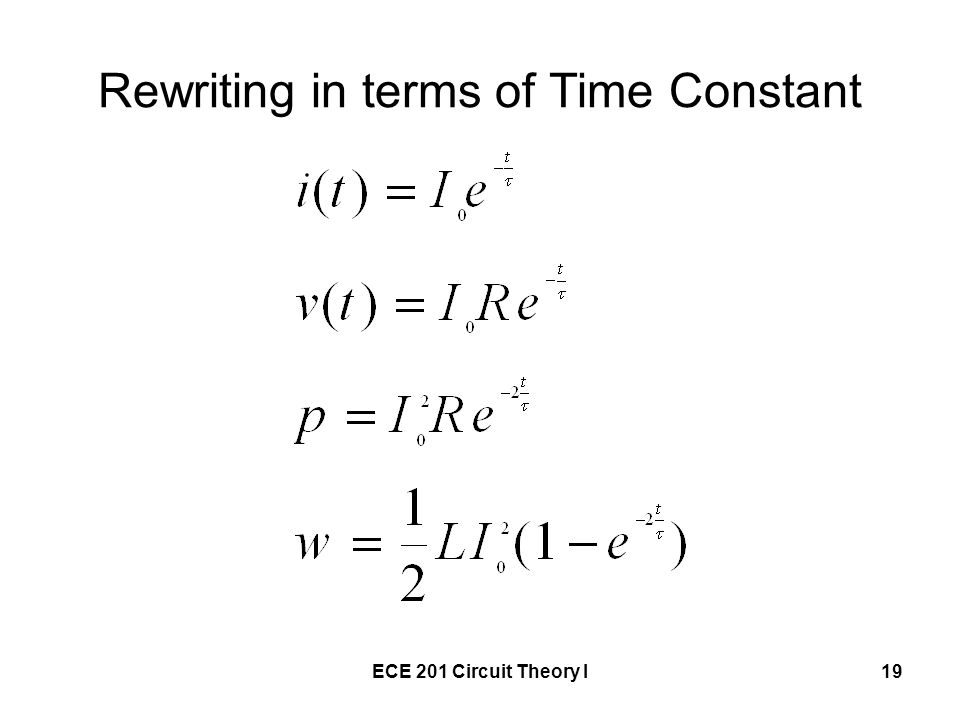 Rewriting in terms of Time Constant