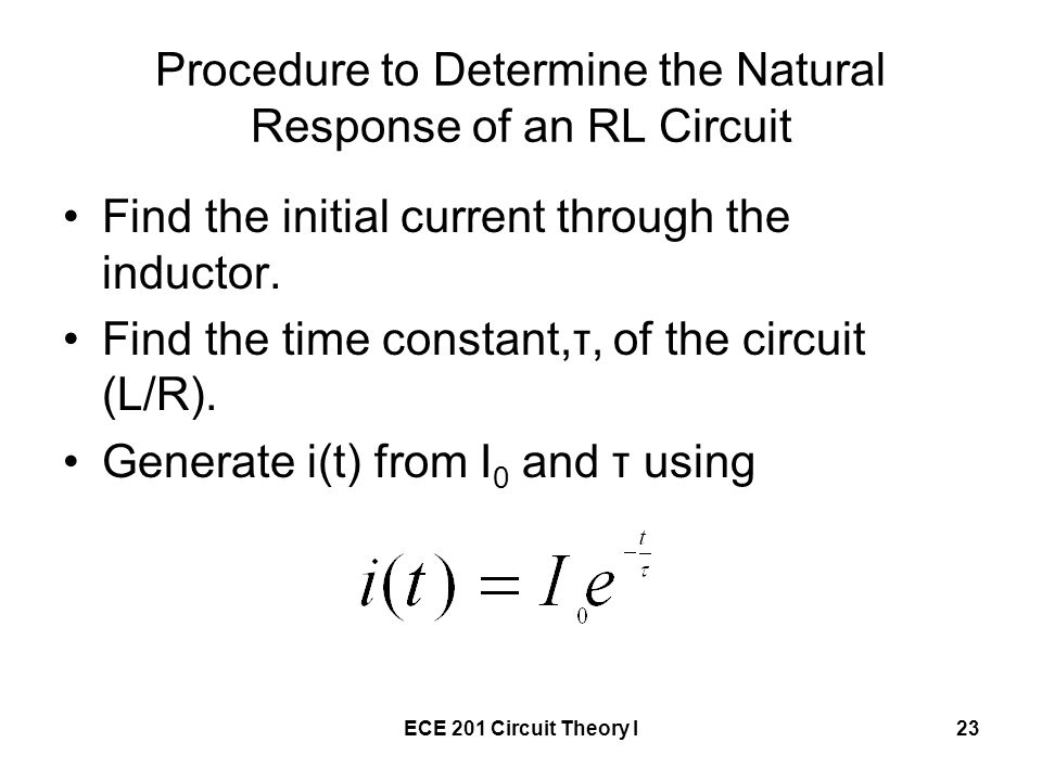 Procedure to Determine the Natural Response of an RL Circuit