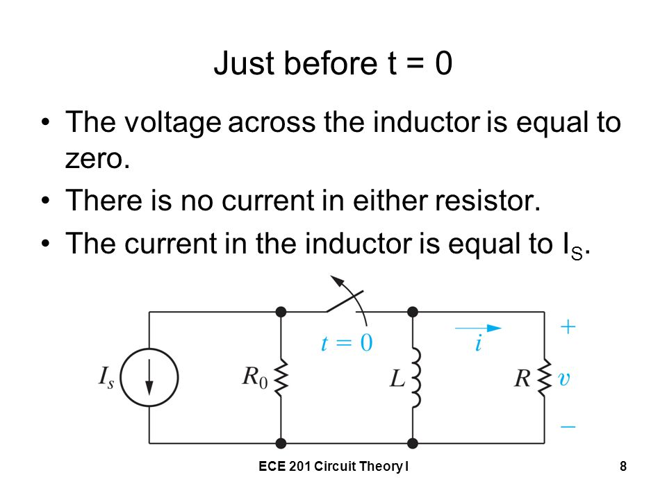 Just before t = 0 The voltage across the inductor is equal to zero.