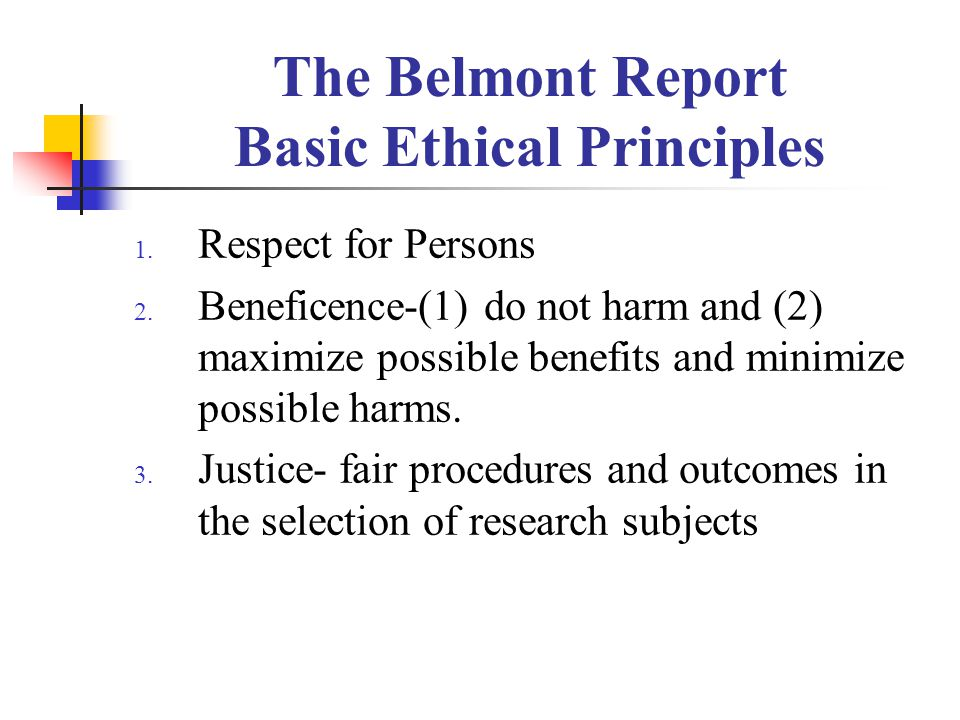 The Belmont Report Basic Ethical Principles