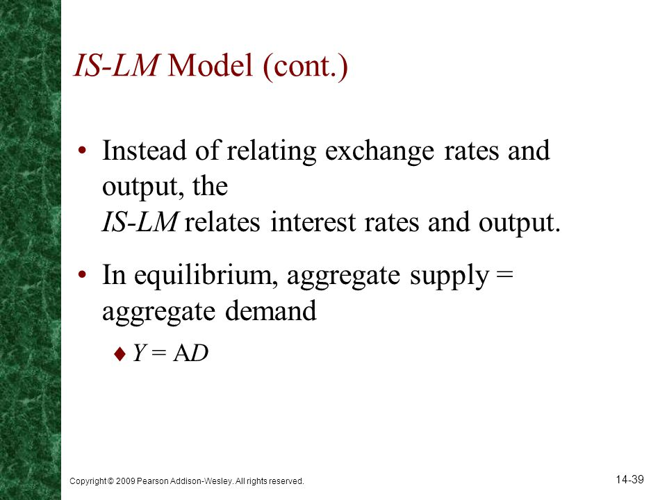 IS-LM Model (cont.) Instead of relating exchange rates and output, the IS-LM relates interest rates and output.