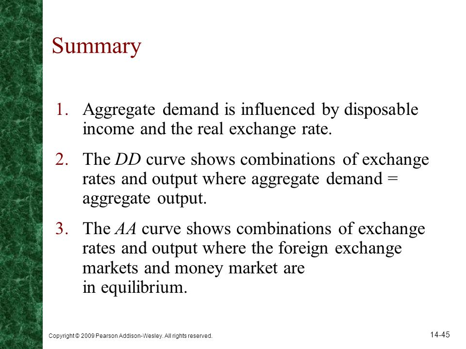 Summary Aggregate demand is influenced by disposable income and the real exchange rate.