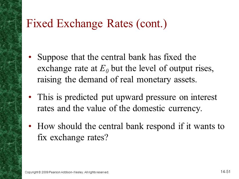 Fixed Exchange Rates (cont.)