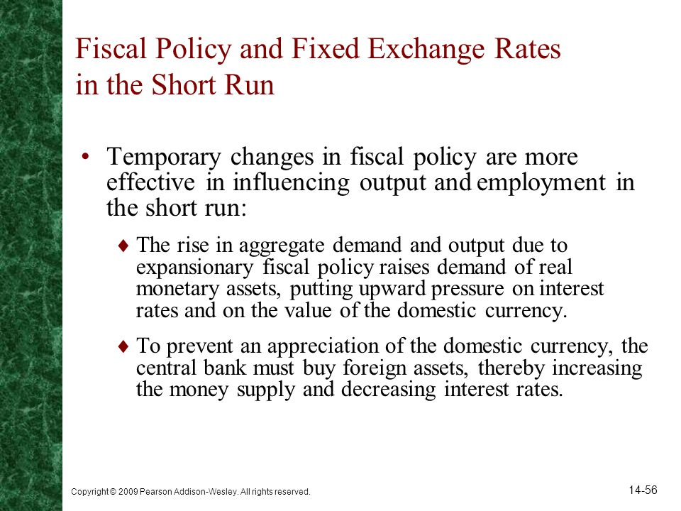 Fiscal Policy and Fixed Exchange Rates in the Short Run