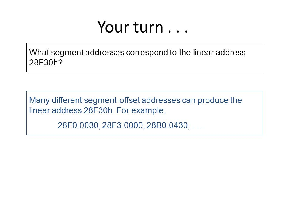 Your turn What segment addresses correspond to the linear address 28F30h