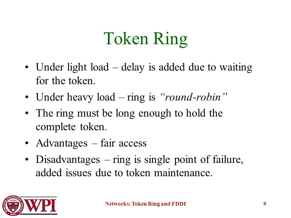 token ring network advantages and disadvantages