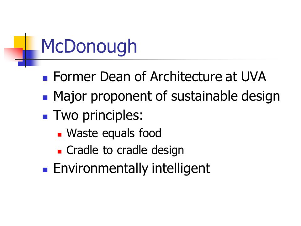 McDonough Former Dean of Architecture at UVA