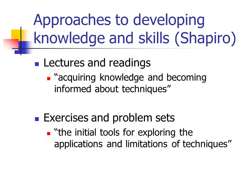 Approaches to developing knowledge and skills (Shapiro)