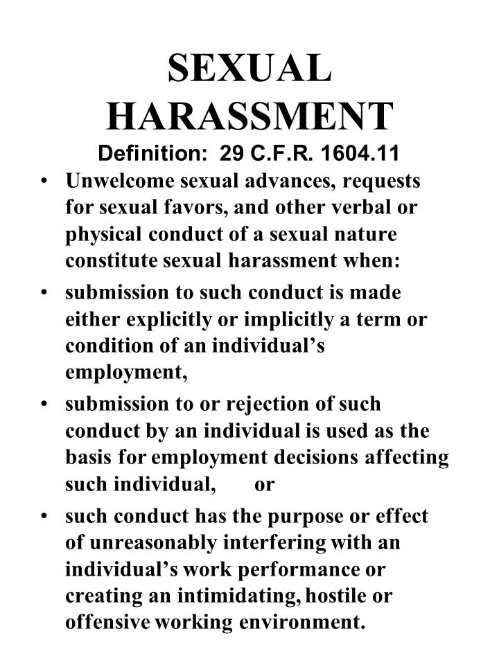 SEXUAL HARASSMENT High Profile Issue: EEOC Report on Cases