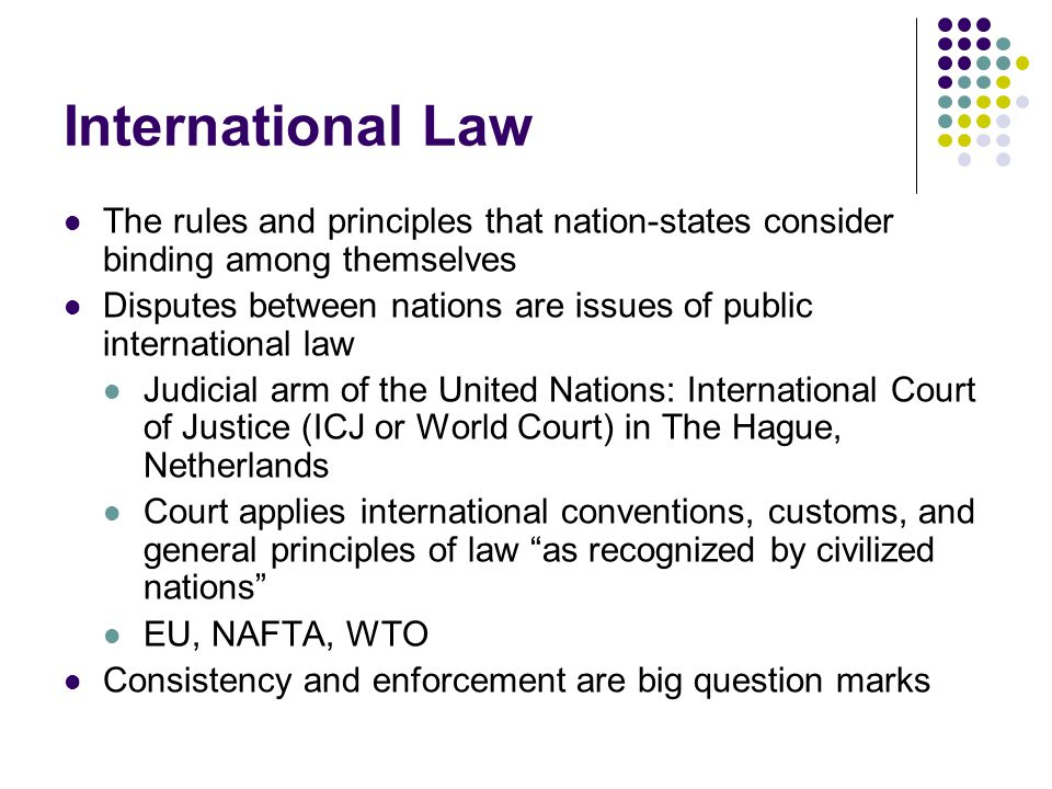 International Law The rules and principles that nation-states consider binding among themselves.