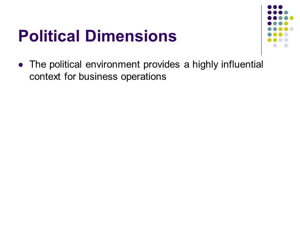 Political Dimensions The political environment provides a highly influential context for business operations.