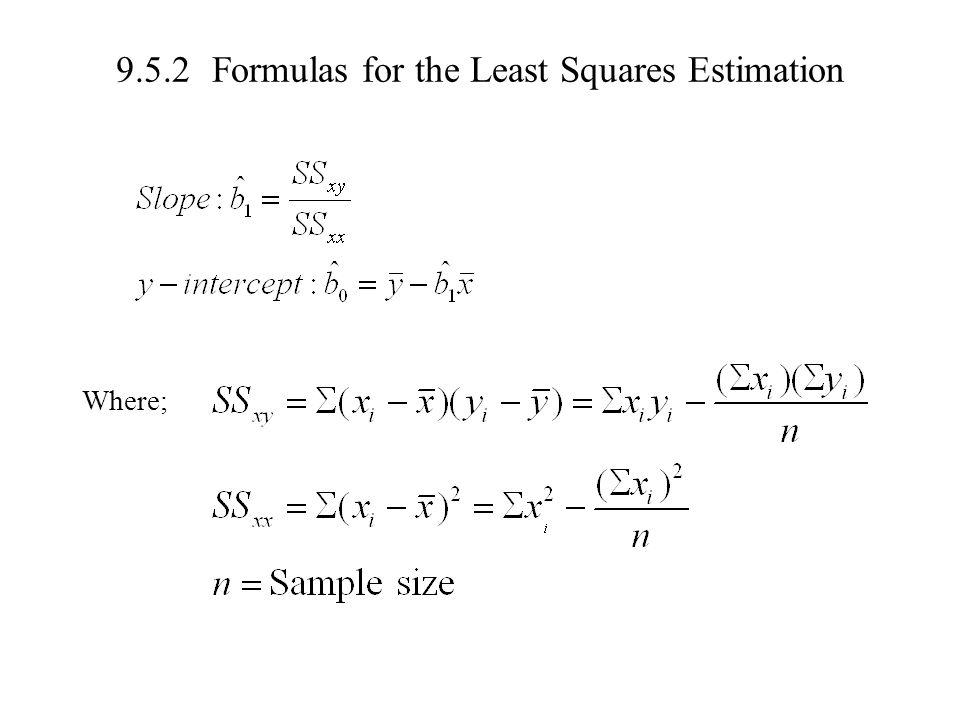 9.5.2 Formulas for the Least Squares Estimation
