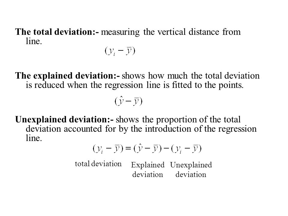 The total deviation:- measuring the vertical distance from line.