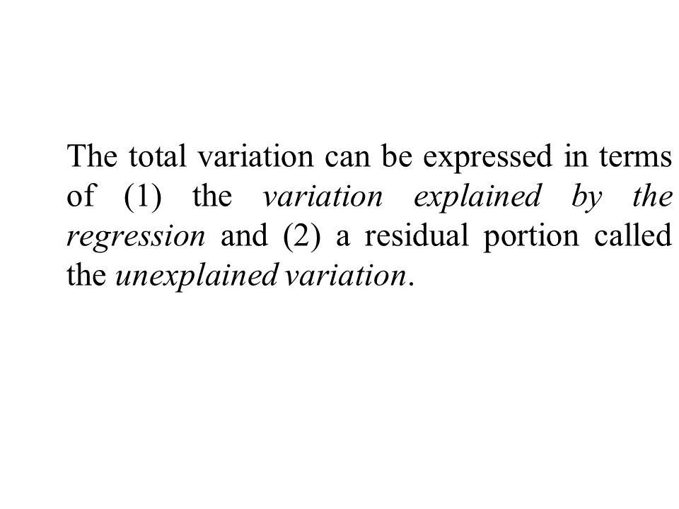 The total variation can be expressed in terms of (1) the variation explained by the regression and (2) a residual portion called the unexplained variation.