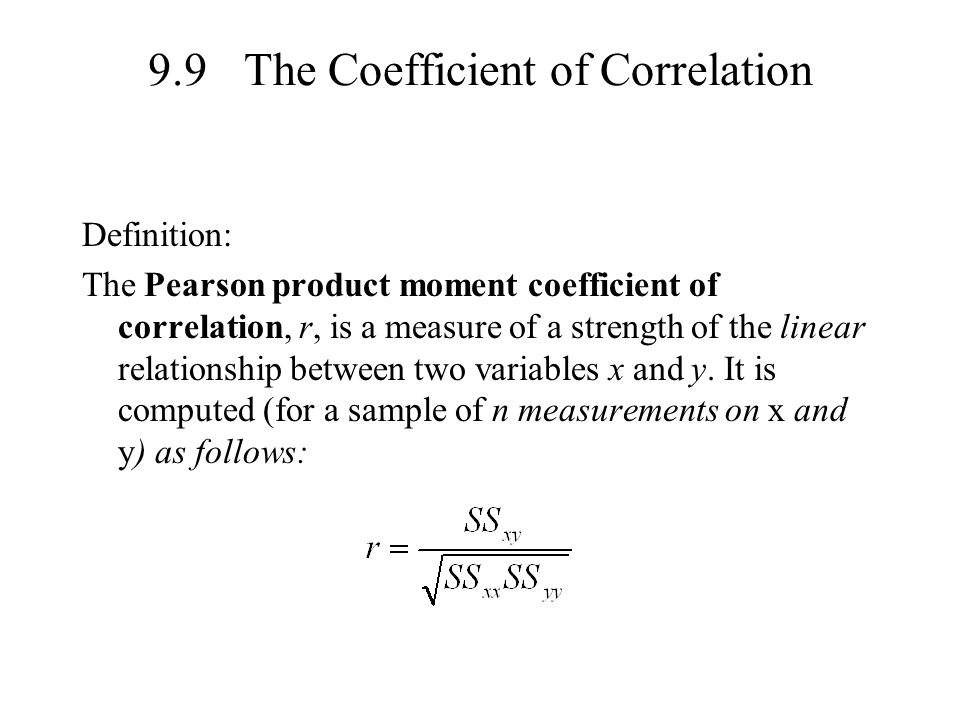 9.9 The Coefficient of Correlation