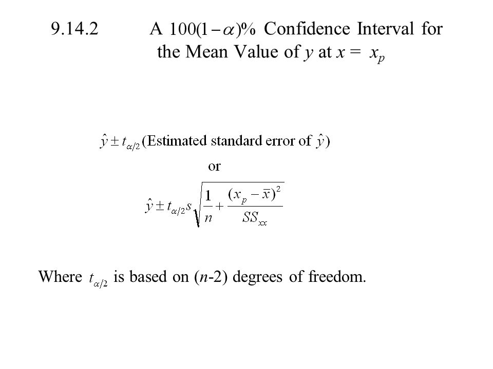 A Confidence Interval for the Mean Value of y at x = xp