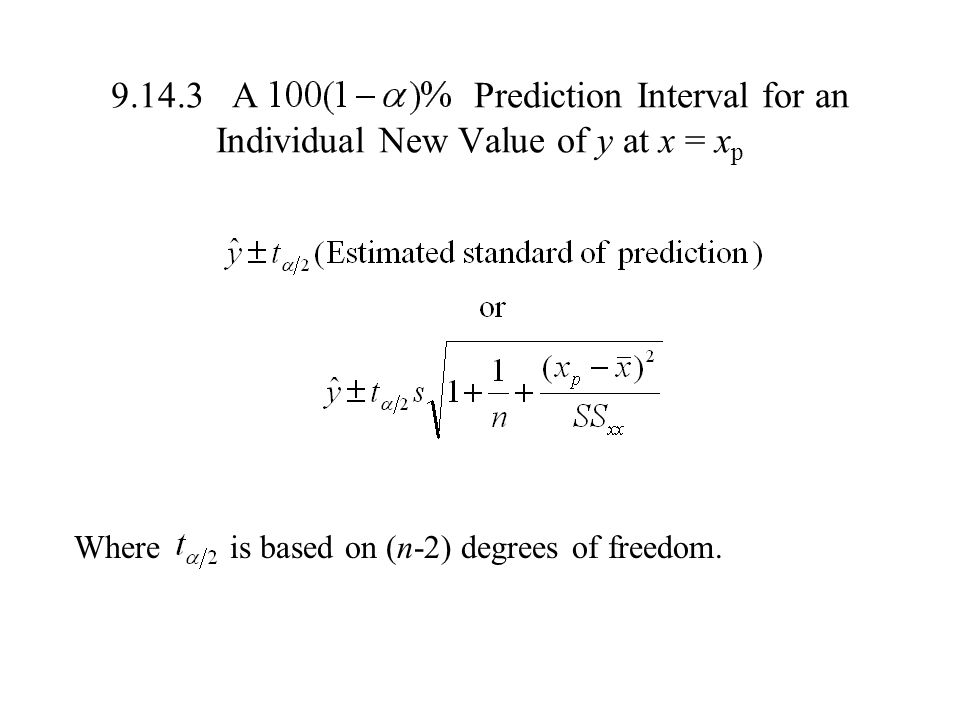 A Prediction Interval for an Individual New Value of y at x = xp