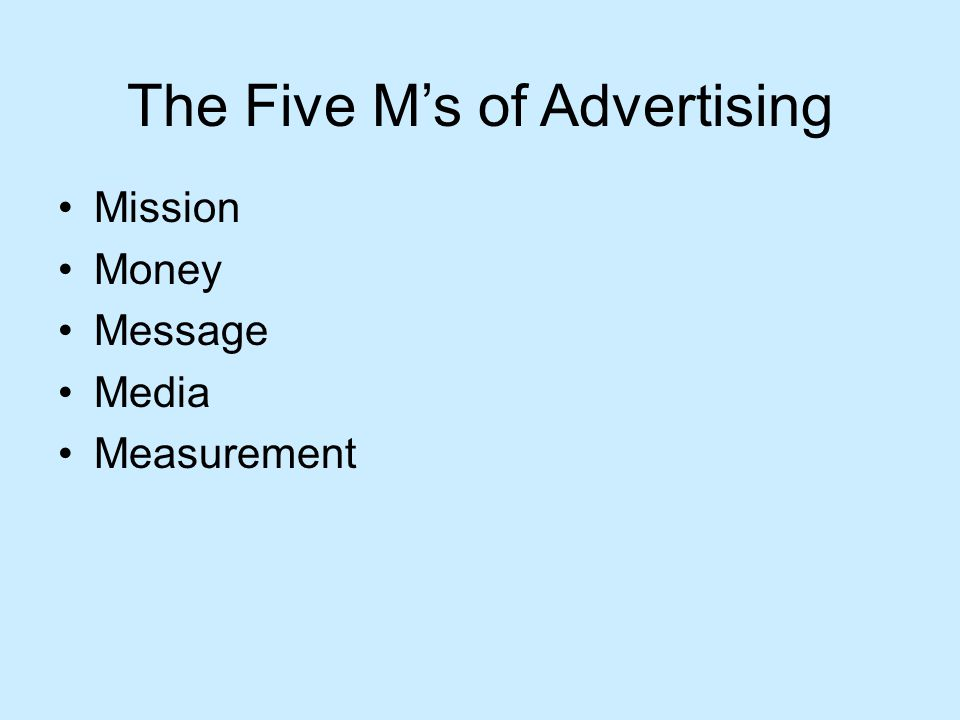 The Five M's of Advertising