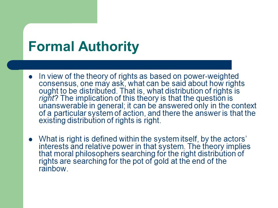formal authority theory