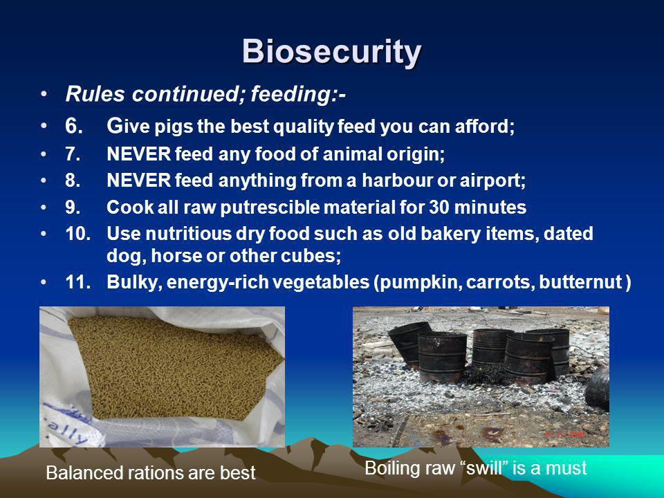 Biosecurity Rules continued; feeding:-