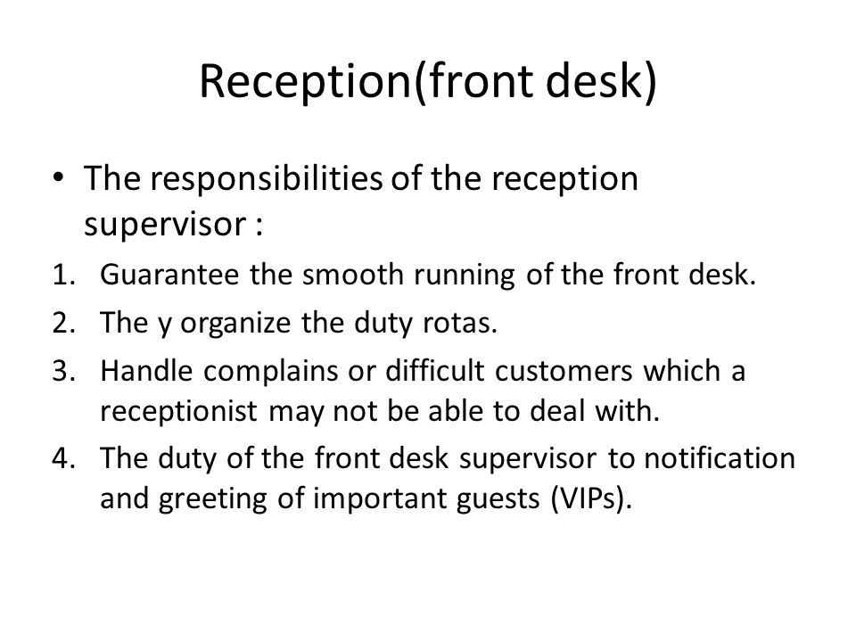 Front office operations ppt video online download receptionfront desk m4hsunfo