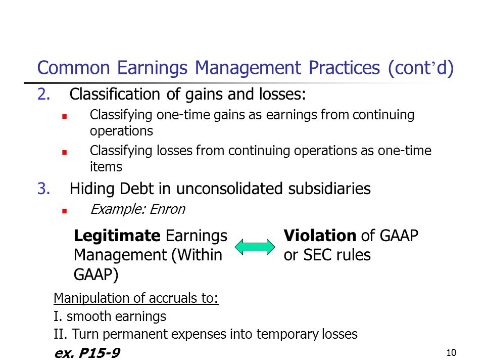 earnings management examples