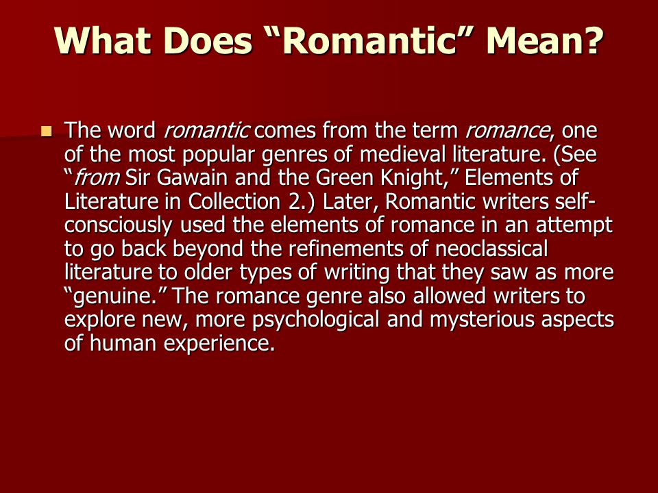 what does romantic mean