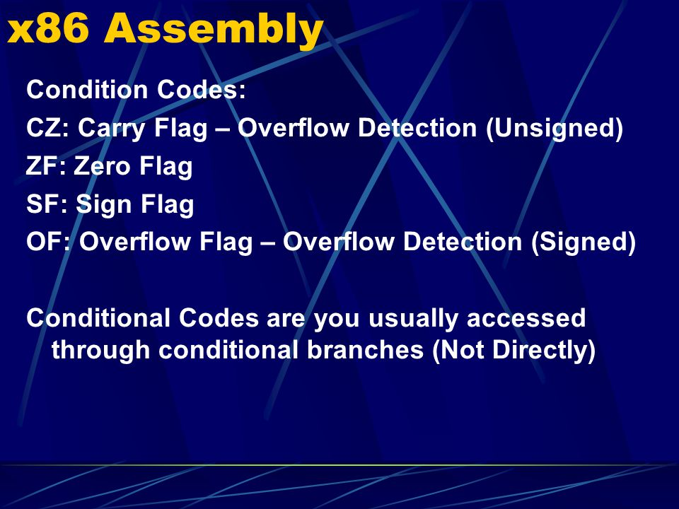 x86 Assembly Condition Codes: