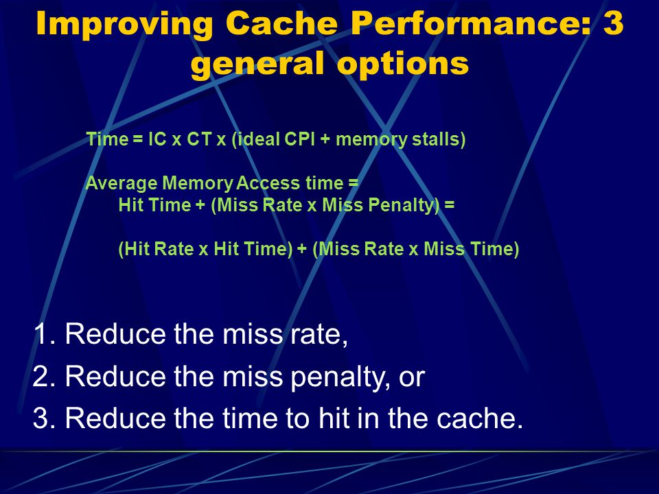 Improving Cache Performance: 3 general options