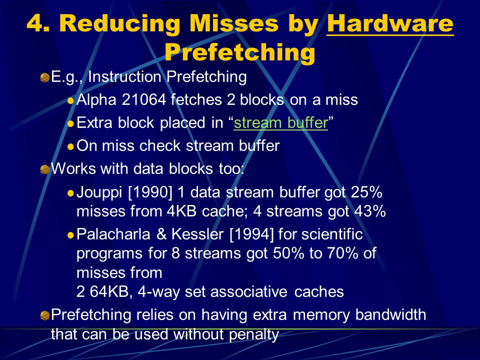 4. Reducing Misses by Hardware Prefetching