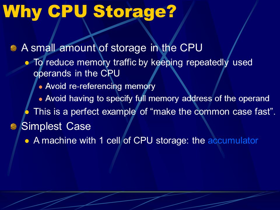Why CPU Storage A small amount of storage in the CPU Simplest Case