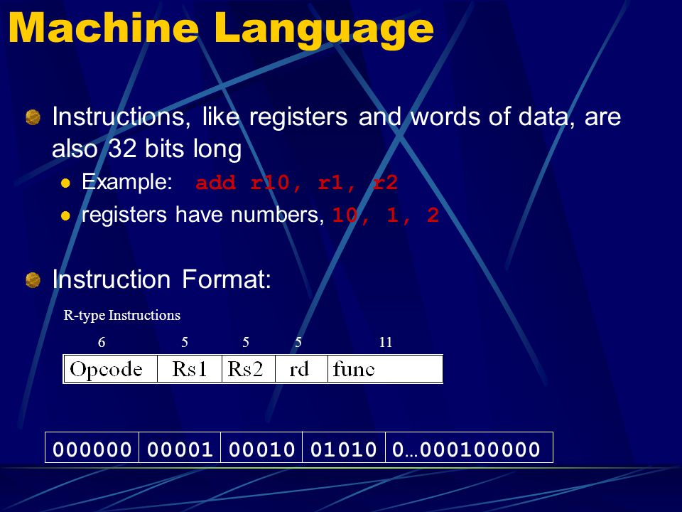Machine Language Instructions, like registers and words of data, are also 32 bits long. Example: add r10, r1, r2.