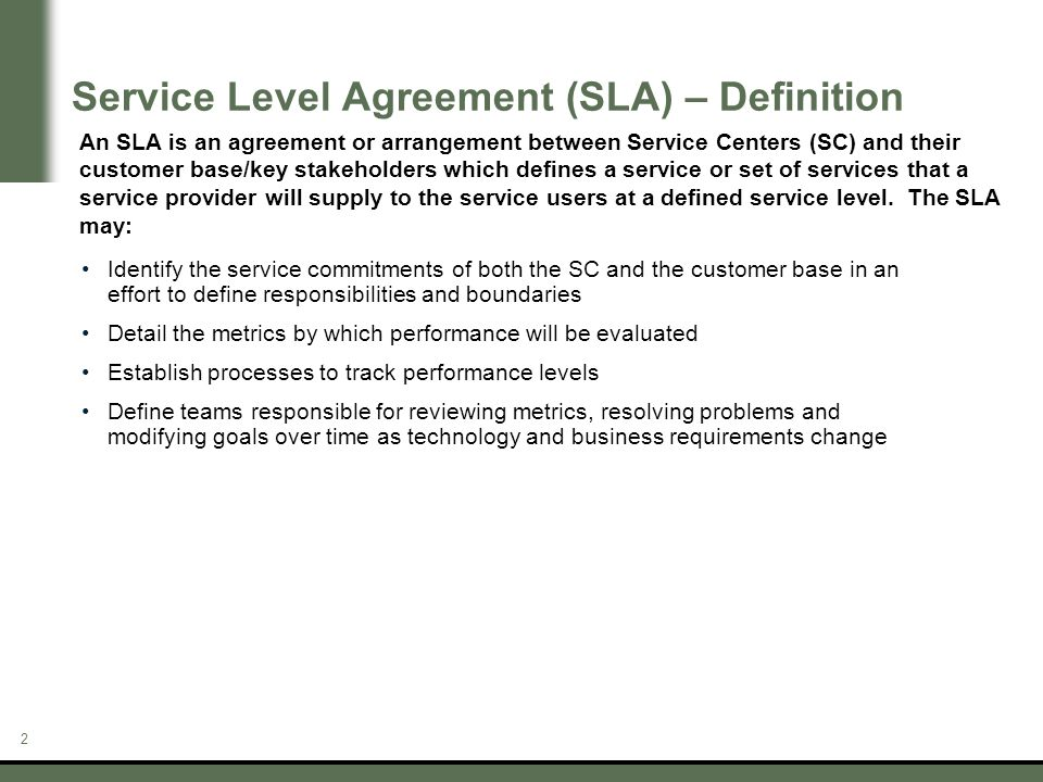 Service Level Agreements Ppt Download