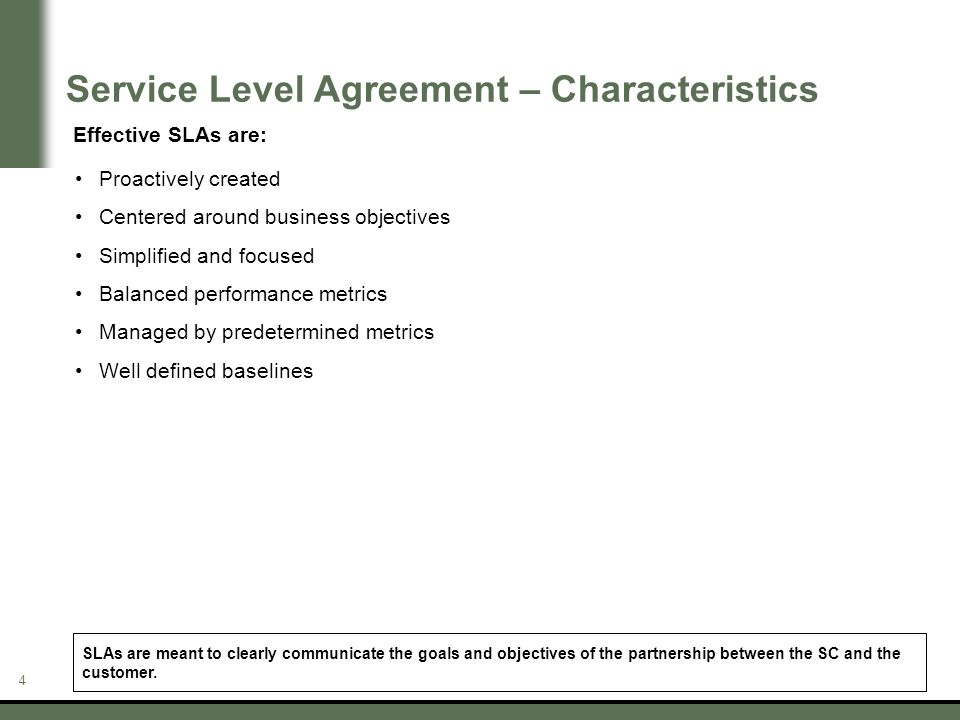 4 Service Level Agreement U2013 Characteristics