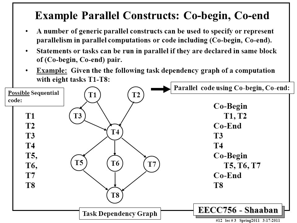 Example Parallel Constructs: Co-begin, Co-end