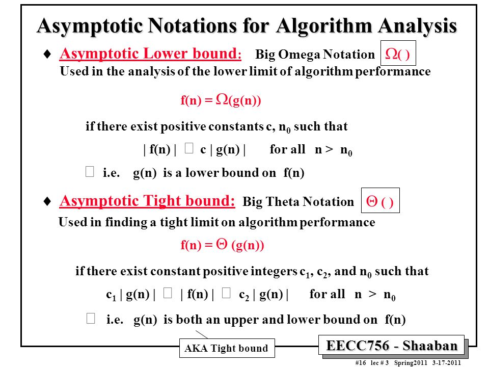 Asymptotic Notations for Algorithm Analysis
