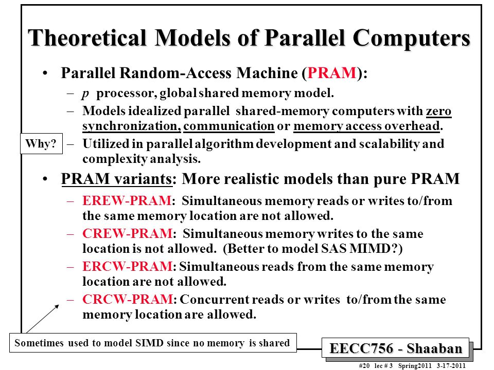 Theoretical Models of Parallel Computers