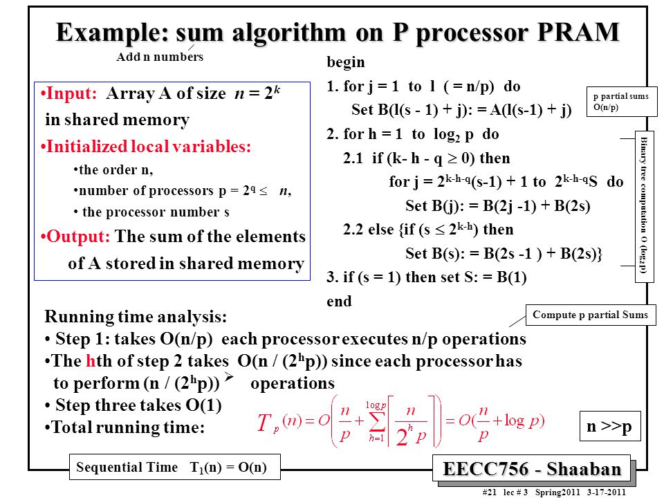 Example: sum algorithm on P processor PRAM