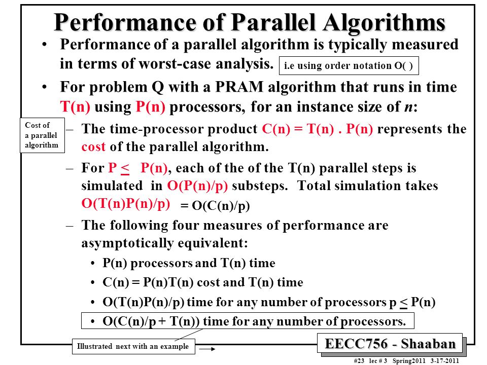 Performance of Parallel Algorithms