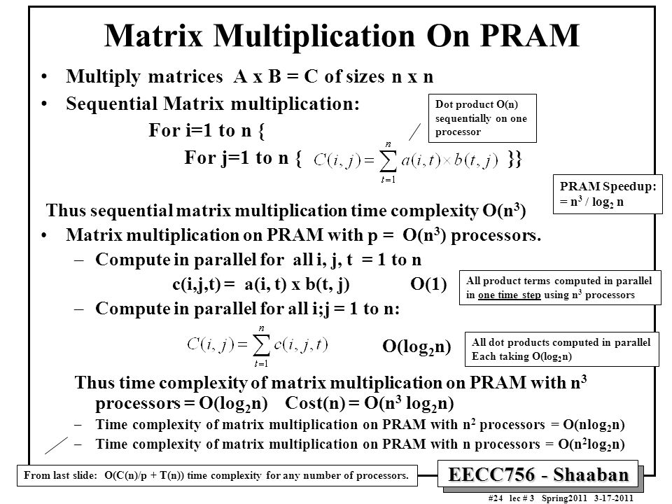 Matrix Multiplication On PRAM